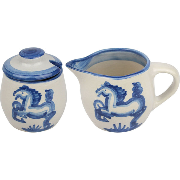 Cream & Sugar Set - Blue Horse