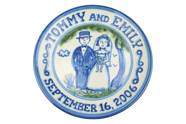 "Personalized 11"" Plate - Bride & Groom (2 lines)"