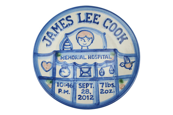 "Personalized 9"" Plate - Traditional Boy Birth"