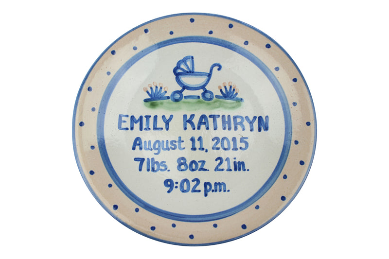 "Personalized 9"" Plate - Baby Buggy Birth"