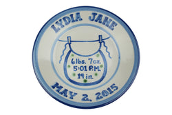 "Personalized 9"" Plate - Baby Bib Birth"