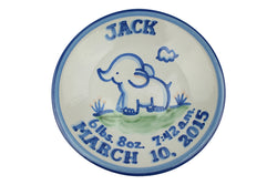 "Personalized 9"" Plate - Elephant Birth"