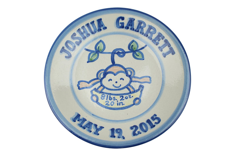"Personalized 9"" Plate - Monkey Birth"