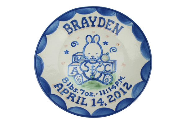 "Personalized 9"" Plate - Bunny Birth"