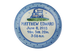 "Personalized 9"" Plate - Train Birth"