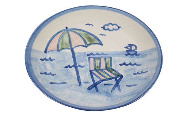 "15"" Round Platter - Beach Umbrella"