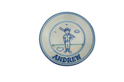 "Personalized 9"" Plate - Boy Baseball Player"