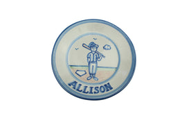 "Personalized 9"" Plate - Baseball Player"
