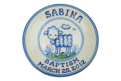 "Personalized 9"" Plate - Baptism (Lamb) (2 Lines)"
