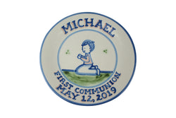 "Personalized 9"" Plate - Boy First Communion (2 lines)"