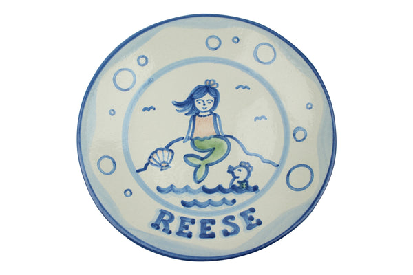"Personalized 9"" Plate - Mermaid (1 line)"