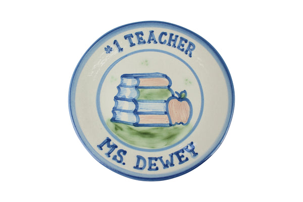 "Personalized 9"" Plate - #1 Teacher (1 Line)"