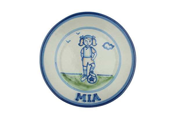 "Personalized 9"" Plate - Girl Soccer Player"