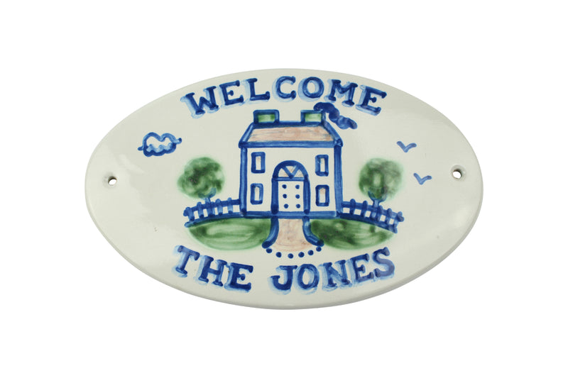 Personalized Plaque  - Large Oval House with Welcome