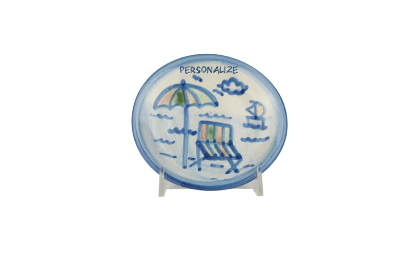 "Personalized 4"" Coaster - Beach Umbrella"