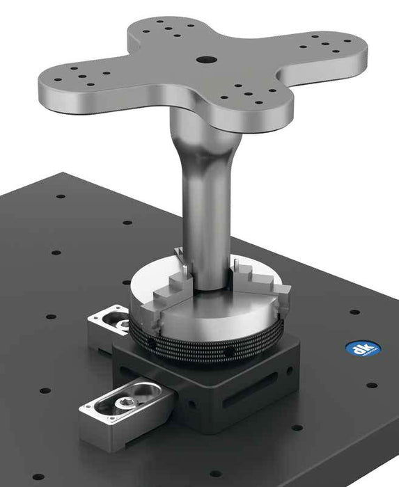 267355 - DK Fixiersysteme Base Plate Rotary Table with 65mm Precision 3-Jaw Chuck Application Example
