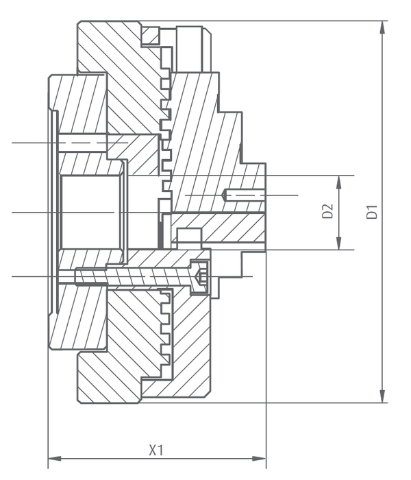 283225 - DK Fixiersysteme 4xM6 Precision Three Jaw Chuck 100mm Technical Drawing