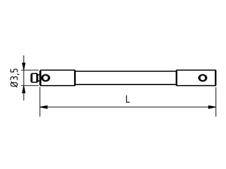 EM2 000 050 RCE - M2 Ø3.5mm, 50mm Long Stylus Extension Ceramic Shaft - Technical Drawing