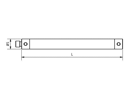 EM3 X00 075 TCF - M3 XXT Ø5.0mm, 75mm Long Stylus Extension Carbon Fiber Shaft Technical Drawing