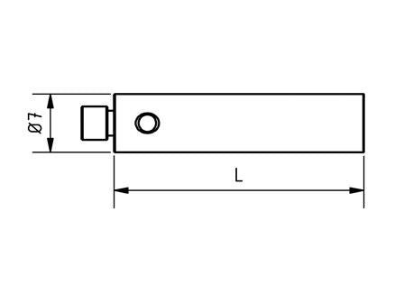EM4 000 050 SSS - M4 Ø7mm, 50mm Long Stylus Extension Stainless Steel Shaft Technical Drawing