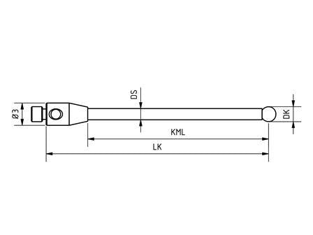 SM2 025 030 RCA - Straight M2 CMM Stylus 2.5mm Ruby Ball, 30mm Tungsten Carbide Stem, EWL 24mm - Technical Drawing