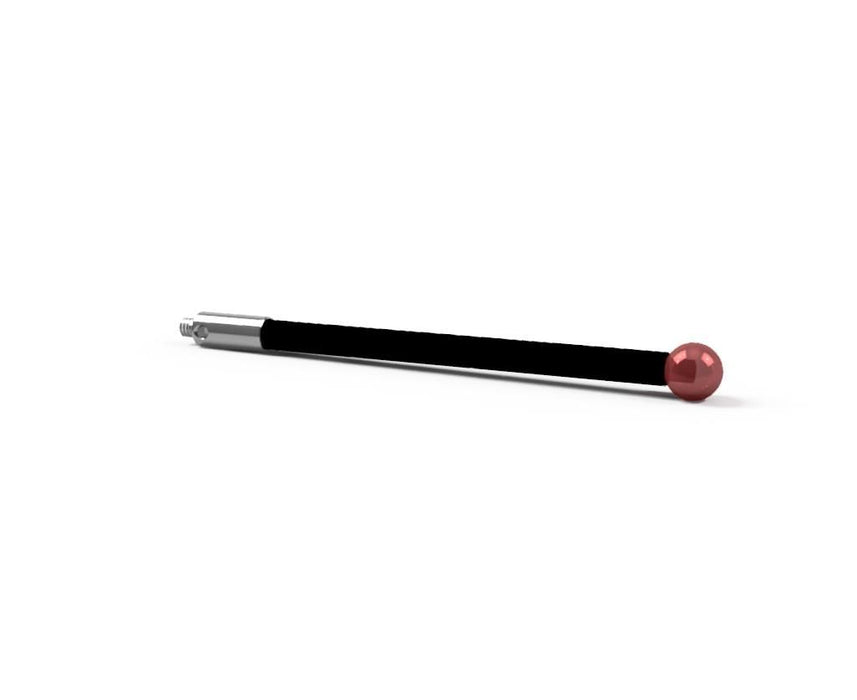 SM2 040 075 RCF - Straight M2 CMM Stylus 4mm Ruby Ball, 75mm Carbon Fiber Stem, EWL 67mm