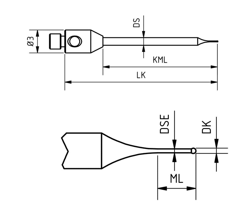 SM2 M012 020 CCA - Stepped Micro M2 CMM Stylus 0.12 mm Carbide Ball, 20 mm Tungsten Carbide Stem, EWL 1 mm - Technical Drawing