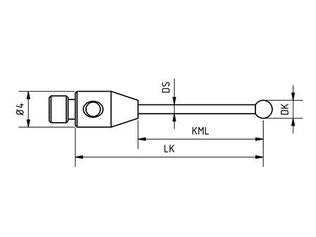SM3 035 030 RCA - Straight M3 CMM Stylus, Ø3.5mm Ruby Ball, 30mm Tungsten Carbide Stem, EWL 23mm Technical Drawing