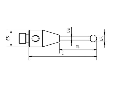 SM3 X20 039 SCA - Straight M3 XXT CMM Stylus 2.0mm Silicon Ball, 39mm Tungsten Carbide Stem, EWL 30mm Technical Drawing