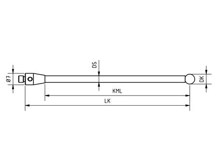 SM4 010 030 SCA - Straight M4 CMM Stylus 1mm Silicone nitride Ball, 30mm Tungsten Carbide Stem, EWL 18mm Technical Drawing