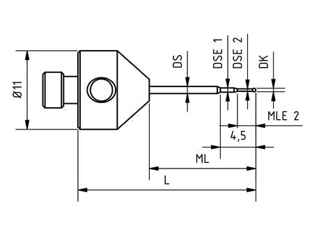 SM5 M03 025 CCA - Stepped Micro M5 CMM Stylus 0.3mm Carbide Ball, 25mm Tungsten Carbide Stem, EWL 1.3mm Technical Drawing