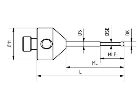 SM5 S10 020 RCA - Stepped M5 CMM Stylus 1mm Ruby Ball, 20mm Tungsten Carbide Stem, EWL 5mm Technical Drawing