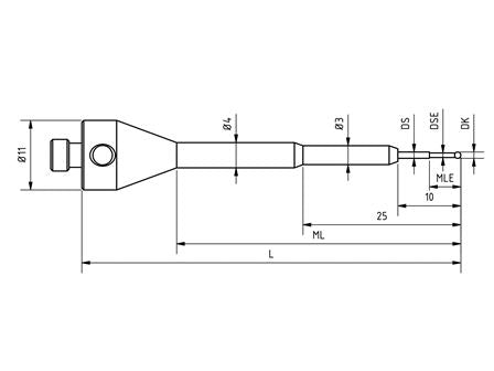 SM5 S10 060 RCA - Stepped M5 CMM Stylus 1 mm Ruby Ball, 60 mm Tungsten Carbide Stem, EWL 5mm Technical Drawing