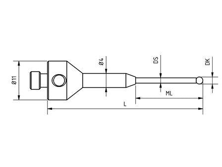 SM5 S135 044 RCA - Stepped M5 CMM Stylus 1.35mm Ruby Ball, 44mm Tungsten Carbide Stem, EWL 19mm Technical Drawing