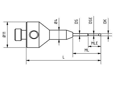 SM5 S10 032 RCA - Stepped M5 CMM Stylus 1 mm Ruby Ball, 32 mm Tungsten Carbide Stem, EWL 5mm Technical Drawing