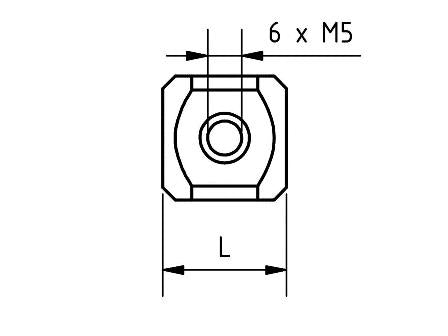 ZM5 000 015 TTN - M5 15mm Titanium Stylus Cube Technical Drawing