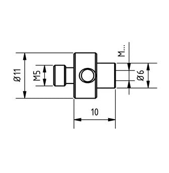 ZM5 0M5 0M3 TTN - M5 to M3 Titanium Stylus Adapter Technical Drawing