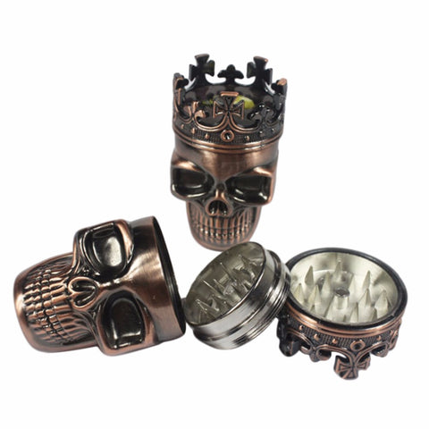 King Crowned Skull Tobacco Pipe Herb Grinder 3 Piece