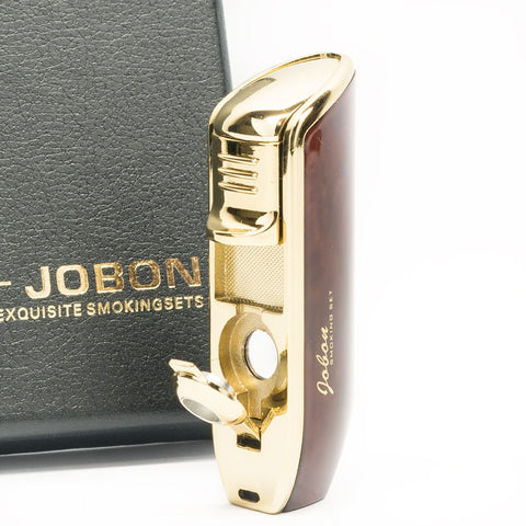 Jobon Cigar Cigarette Butane Lighter with Cigar Punch In Triple Torch