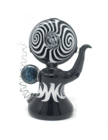 "6"" Black Swirling Glass bubbler Pipe"