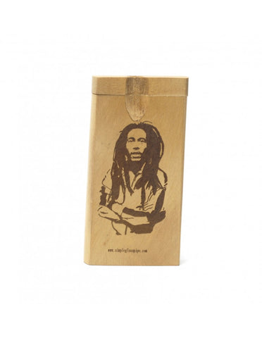 BOB Marley Etched Dugot Storage Wood Box with Bat