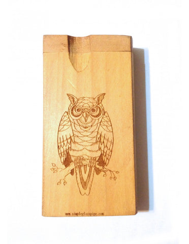 Owl etched carving wood dogout pipe with bat