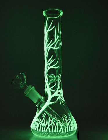 "10"" Tree of life Glow In The Dark Glass Water Pipe Bong"