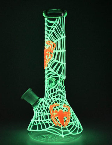 "10"" Spider Glow In The Dark Glass Water Pipe Bong"