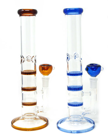 "11"" Glass Water PIpe with Honeycome Filter and Ice Pinch"