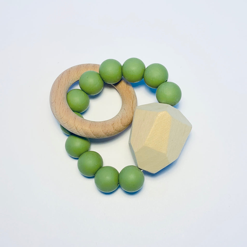 Silicone + Beechwood Teether- Gem - Moss