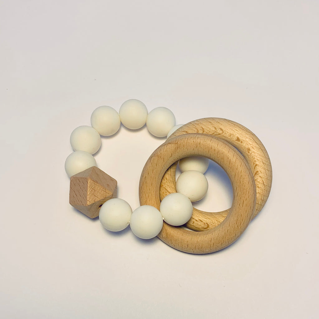 Silicone + Beechwood Teether- 2 Ring - White