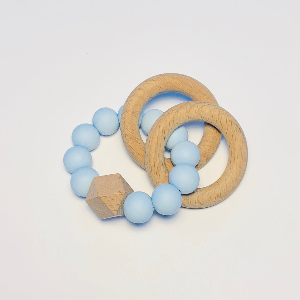 Silicone + Beechwood Teether- 2 Ring - Blue