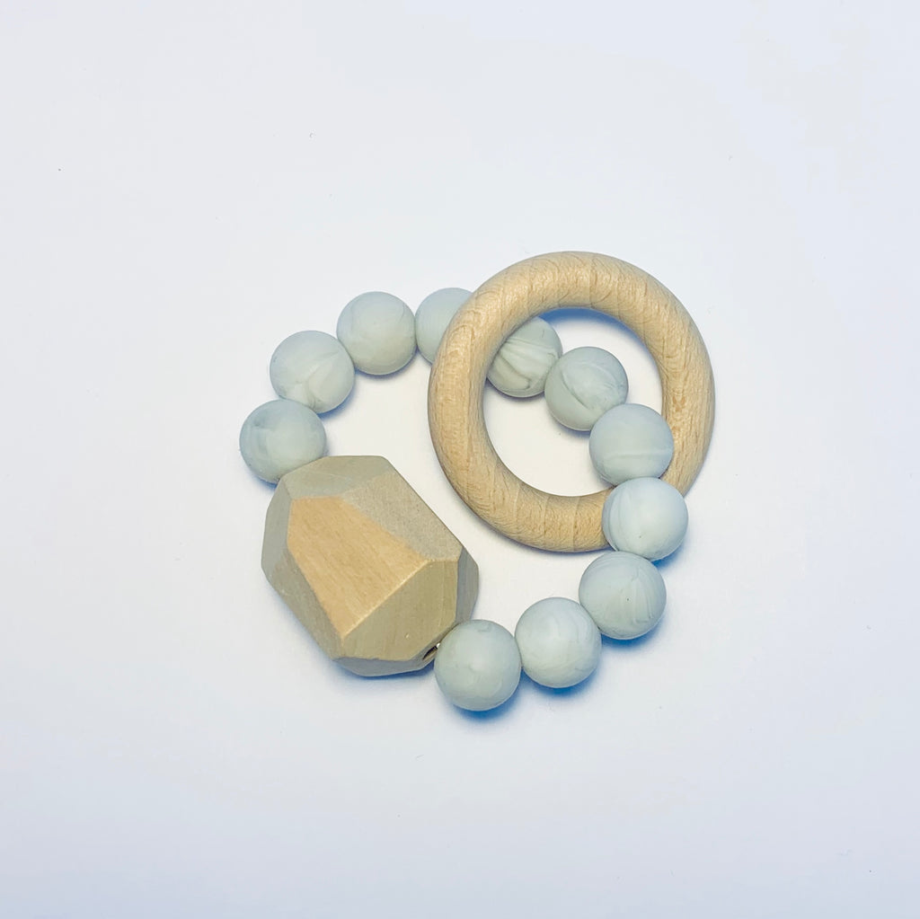 Silicone + Beechwood Teether- Gem - Marble