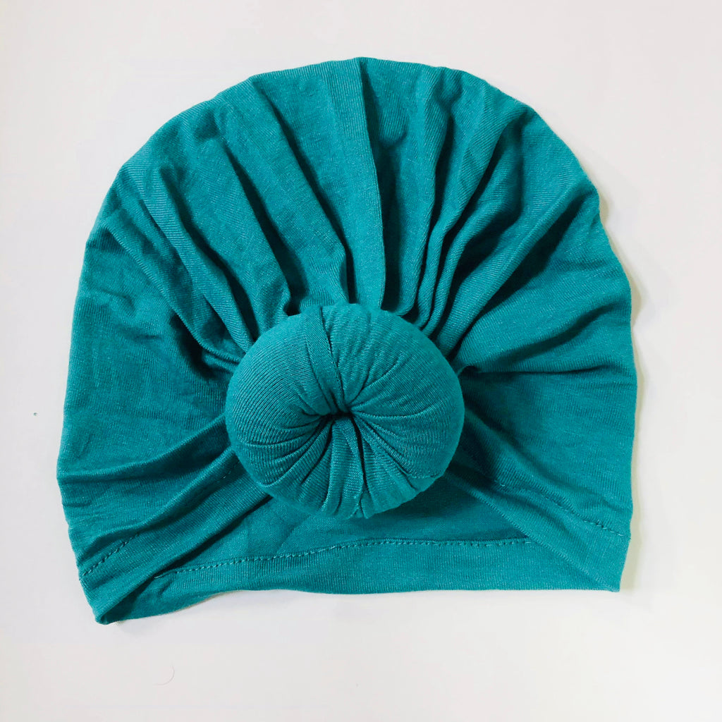 Baby Top Knot Hat - Peacock